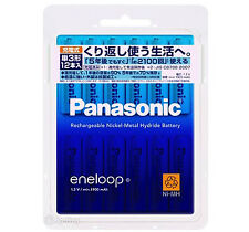 12 Panasonic Eneloop 1900 mAh AA Batteries 2100 Times Rechargeable NiHM Battery