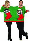Ugly Christmas Sweater For 2 Holiday Party Adult Couples Naughty Or Nice LG-XL