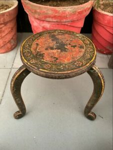 Antique Wood Painted Bikaner State Round Beautiful Table Stool Rich Patina