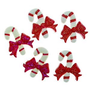 5pcs Christmas Sweet Candy Canes Flatback Resin Cabochon Embellishments Craft