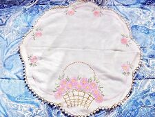 Vintage Hand Embroidered Scalloped Cotton Doily W/Multi-Color Braided Border