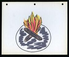 1960s Drawing of Camp Fire, Flaming Wood Fire Marker on Light Board, 8 x 10""