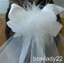 White Satin Boutique Bow Veil w/Feather in the center of bow NEW 1st Communion