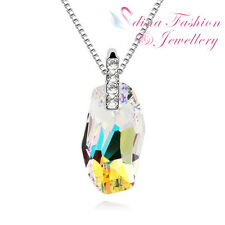 18K White Gold Plated Made With Swarovski Crystal Curved Rectangle Cut Necklace