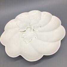 Graces Teaware Pumpkin Leaf Lunch Tea Plate Sculpted Leaves White Thanksgiving
