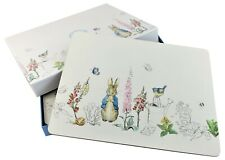 """Set of 6 Beatrix Potter Peter Rabbit bunny Cork Backed Placemats Boxed 9"""" X 12"""""""
