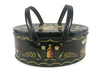 Vintage Black Oval Storage Box Metal Tin Toleware Amish Pennsylvania Dutch Motif