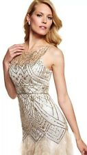 SUE WONG  Feather Champagne & Silver Illusion Sequin Wedding Ball Prom Gown 2