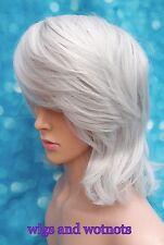 Ladies DIY synthetic silver grey tones mid length hair full wig classic cap