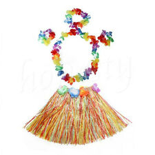 Cute Kids Hawaiian Grass Hula Lei Skirt Flower Wristband Garland Fancy Costume 1pc Multicolor 4pcs Garland
