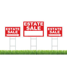 Estate Sale Sign Kit (Red) - 3 Signs with Steel H Stakes