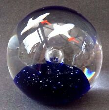 Vintage Glass Paperweight White Flying Birds Seagull Stork Goose Sea Blue Bubble