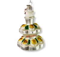 Kurt Adler Deviled Eggs Tower Noble Gems Glass Ornament Christmas Food Christmas