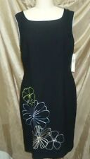 AMANDA SMITH BLACK SLEEVELESS SHEATH MULTI-COLOR EMBROIDERED FLORAL DRESS SIZE10