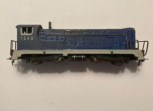 Vintage Ho Scale Fleishmann Blue Diesel Locomotive #1340 For repair