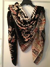 """Etro large square wool silk scarf red ivory paisley with black overprinting 52"""""""