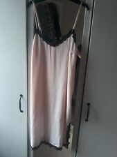 River Island cami dress BNWT size 10 pink w black lace detailing negligee style