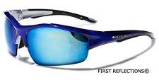 Arctic Blue Half Frame Wrap Around Sport Men Cycling Running Sunglasses Ice Lens