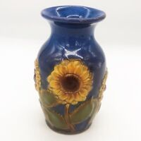 Hand painted Sunflower Vase Ceramic Pottery Blue Burton and Burton EUC b+B