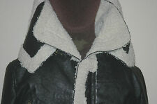 BLACK Womens Faux Fur & Leather PU ZIPPED JACKET uk12 us8 eu38 Chest c38in c96cm