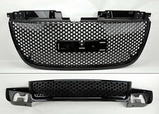 GMC Yukon 07-13 Round Hole Gloss Black Front Upper Lower Hood Bumper Grill