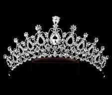 Women Silver Rhinestone Crystal Wedding Bride Party Hair Headband Crown Tiara