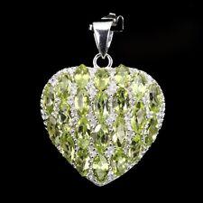 Anhänger Herz Peridot 925 Silber 585 Weißgold