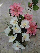 künstliche pflanzen  blumen Grabgesteck Clematisschale