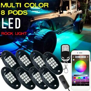 8 Pod LED Rock Light bluetooth Under Body Glow For Ford F-150 F-250 Super Duty