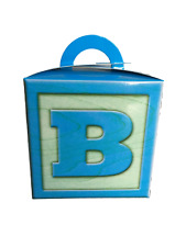 50 Baby Boy Blue 5 inch Cube Favour Gift Box with Handle Gable Box