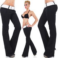 Women's Black Bootcut Stretch Denim Jeans + Belt - S/M/L/XL
