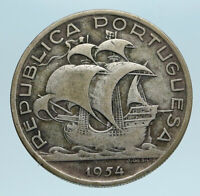1954 PORTUGAL with PORTUGUESE SAILING SHIP Genuine Silver 10 Escudos Coin i83337