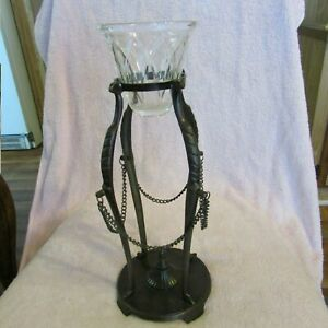 Bronze Metal Wrought Iron Candle Holder Rustic With Crystal Candle Holder