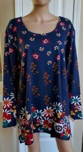 Ulla Popken Women's Blue Multi 100% Cotton Stretch Knit Tunic Top 28/30 3X $60
