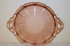 """Jeannette Glass PINK CHERRY BLOSSOM Depression U.S.A. 12 3/4"""" Handled Cake Plate"""