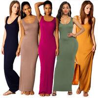 Women Dress Tunic Top Shirt Blouse Long Maxi Casual Sleeveless Party Sundress