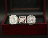3pcs Chicago Blackhawks Championship Ring Display Set w Wooden Box