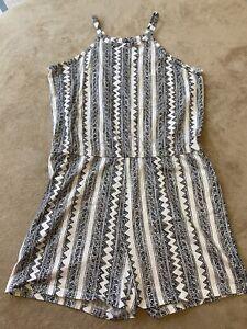 Old Navy Girls Size XL 14 Stripped Romper Sleeveless