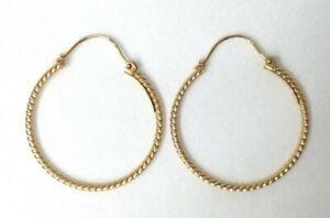 Womens 9ct / 9 Carat / 9K / 9 Karat Solid Yellow Gold 375 Hoop Earrings - 2.44g