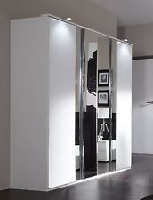 German Wimex Davos White Chrome 4 Door 180cm Wardrobe with Mirrored Doors