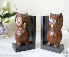 WISE OWL NIGHT GODDESS MYTHOLOGY WALNUT WOOD NOVICA STYLE 2PC BOOKENDS GIFT