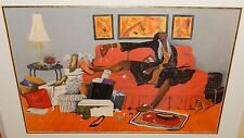 ANNIE LEE WOMAN ON A COUCH LARGE COLOR OFFSET LITHOGRAPH