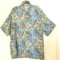 Mens Hawaiian Aloha Floral Short Sleeves Blue Shirt Pierre Cardin  Sz L