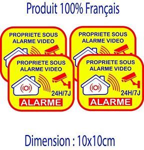 Autocollant alarme maison domestique LOT DE 4 stickers - video surveillance