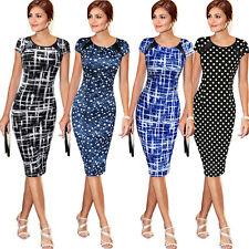 UK Womens Short Sleeve Bodycon Dress Ladies Evening Party Lace Midi Dress 6-20