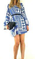 Apricot Tunic Dress Blue White Tile Print Toile de Jouy Smock Long Sleeves 10