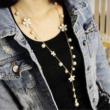 Women's Pearl Flower Sweater Chain Long Pendant Necklace New Fashion Jewelry