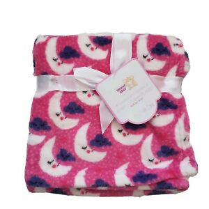 Snugly Baby Girls Soft Blanket With Moon, Pink, Purple, Shower Gift 30 X 30 L9M