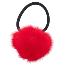 Lux Accessories Red Hot Pink Faux Fur Pom Pom Stretch PonyTail Holder