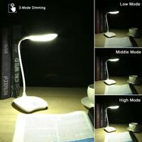 USB Rechargeable Reading Light  14 LED Touch Sensor 3 Mode Bed Desk Table Lamp